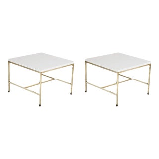 Mid 20th Century Brass Paul McCobb Side Tables with Virtrolite Glass Tops - a Pair For Sale