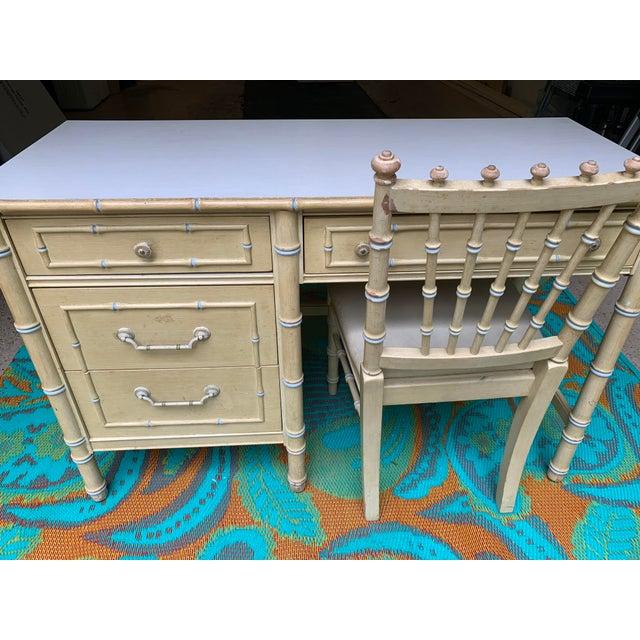 1960s Vintage Regency Thomasville Faux Bamboo Desk Set- 2 Pieces For Sale - Image 10 of 12