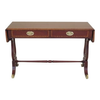 Baker Regency Style Mahogany Drop Side Sofa Table For Sale