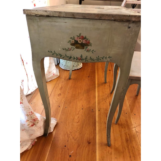 Wood 1920s Antique Hand Painted French Vanity With Bench-a Pair For Sale - Image 7 of 13