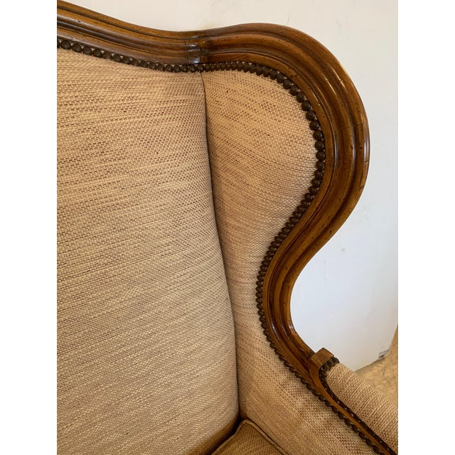2010s Handsome Louis XV Style Bergere With Neutral Taupe Rose Tarlow Upholstery For Sale - Image 5 of 12