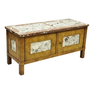 20th Century Hollywood Regency Burl Walnut Marble Top Low Hall Cabinet For Sale