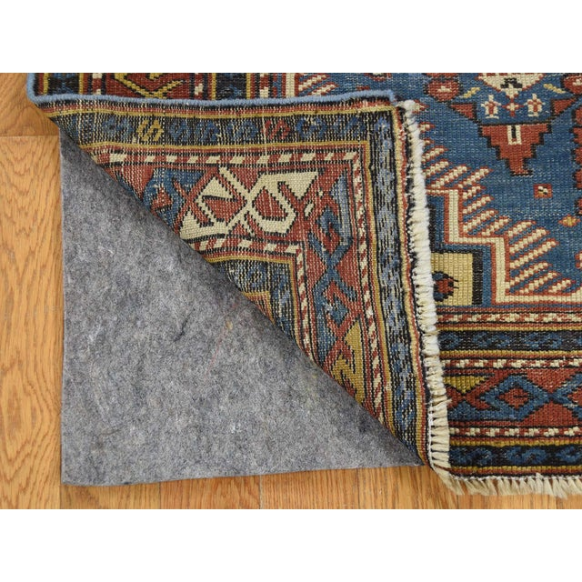 Traditional Antique Caucasian Kazak Even Wear Hand Knotted Rug- 3′10″ × 6′3″ For Sale - Image 3 of 8