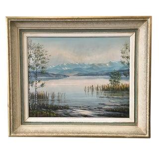 French Vintage Signed Landscape Painting With Original Frame For Sale