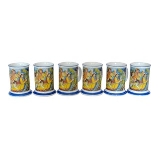 Norwegian Expressionist Painting Motif Porcelain Coffee Mugs - Set of 6 For Sale