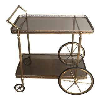 French 1940s Neoclassical Style Bar Cart With Smoked Glass