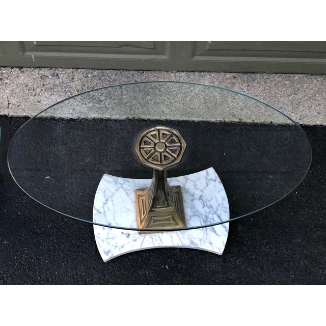 Brass Mid Century Glass Top Marble Base Hollywood Regency Italianate End Tables - a Pair For Sale - Image 7 of 10