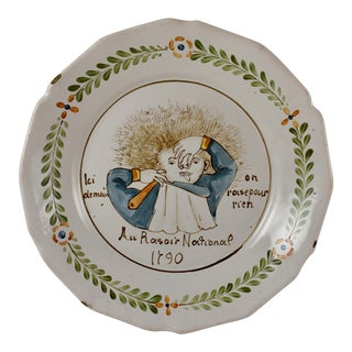 18th C. Nevers French Revolution Tin-Glazed Dish, Au Raisoir National 1790