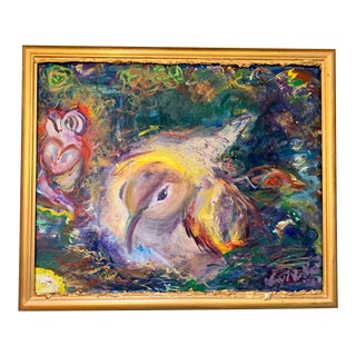 """""""My Nest"""" Contemporary Abstract Expressionist Oil Painting, Framed For Sale"""