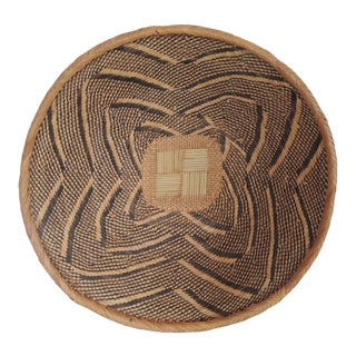 Vintage Woven Seagrass Ethnic Round African Basket For Sale