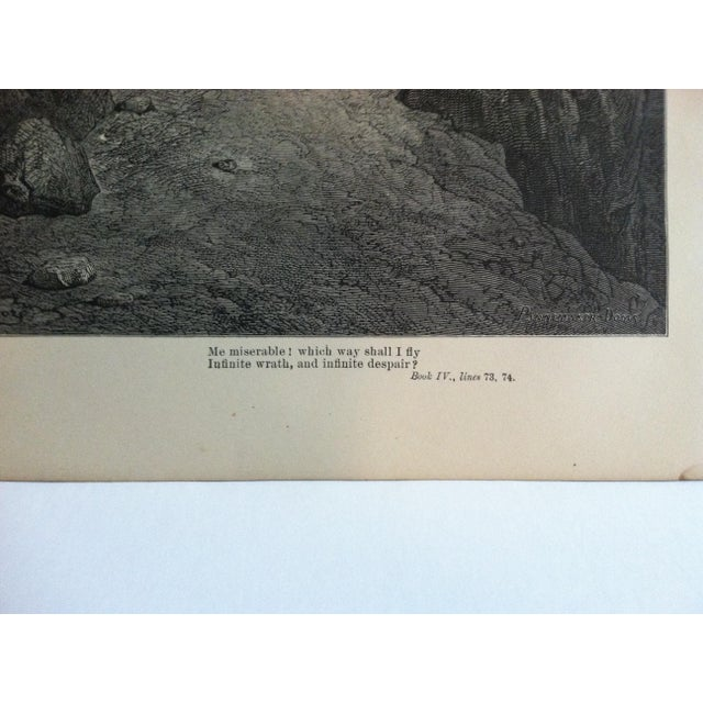 """Traditional Antique Paradise Lost Print, """"Which Way Should I Fly"""", Circa 1890 For Sale - Image 3 of 4"""