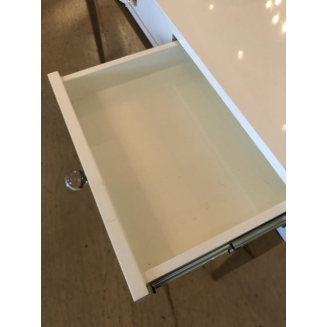 Jonathan Adler Contemporary Jonathan Adler White Lacquer and Chrome Console For Sale - Image 4 of 12