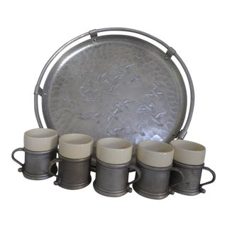 Engraved Tray With 5 Rwp Pewter Ceramic Tavern Mugs - Set of 6