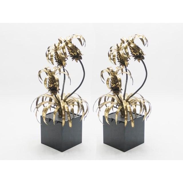 Metal Rare Pair of Hollywood Regency Brass Maison Jansen Pineapple Floor Lamps, 1970s For Sale - Image 7 of 13