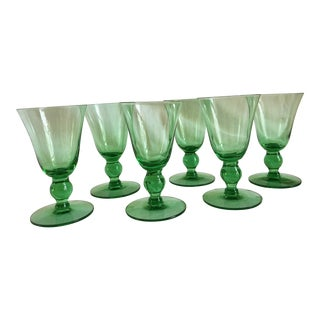 """Vintage Glass Cordials in the Regina Pattern by """"Old Morgantown"""" Glass Works Circa 1930s - Set of 6 For Sale"""