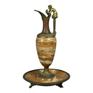 Italian Grand Tour Onyx and Bronze Ewer For Sale