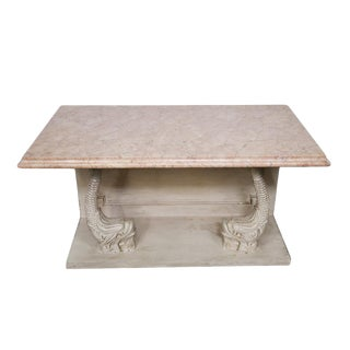 Indian Carved Side Table With Marble Top For Sale