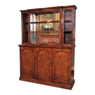 "English Burl Walnut ""Cocktails"" Bar Cabinet-1920's For Sale"