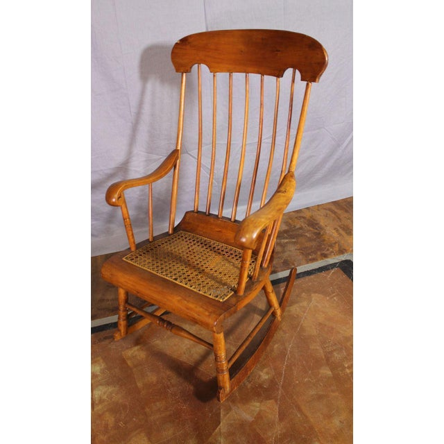 Spindle Back Caned Seat Rocking Chair For Sale In New York - Image 6 of 11