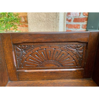 1900s Antique English Carved Oak Wood Bench Child Doll Seat Chair Preview
