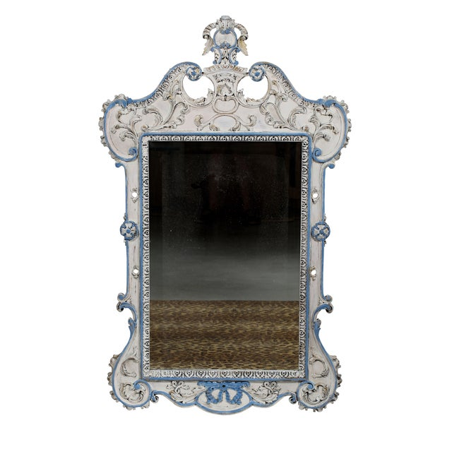 Blue & White French-Style Mirror - Image 2 of 6