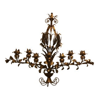 Mid 20th Century Huge Vintage Italian Tole Candelabra Wall Sconce For Sale