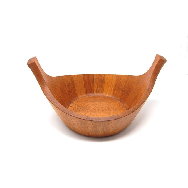 """Early Jens Quistgaard for Dansk staved teak """"Viking"""" bowl, circa 1967. Bowl is in the form of a traditional Viking ship...."""