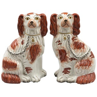 Pair of Red Staffordshire Dogs For Sale