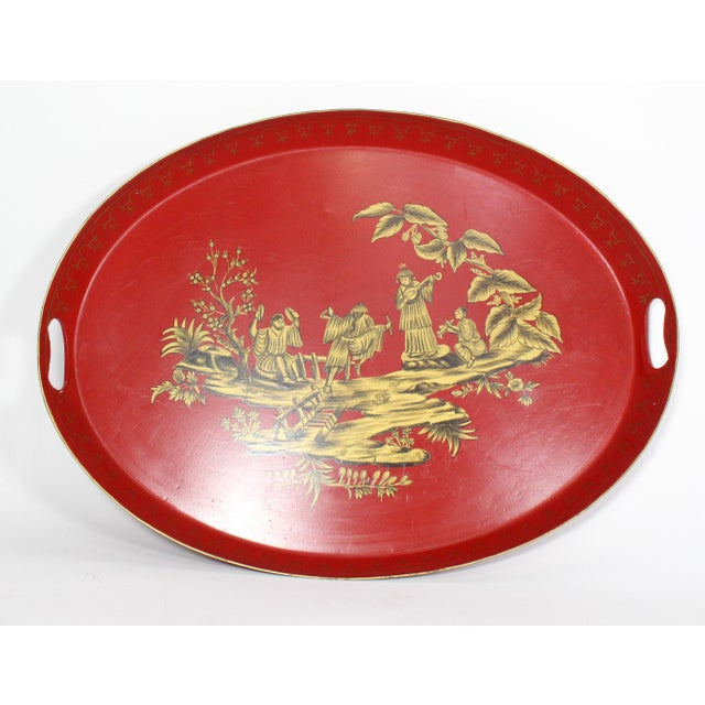 Metal Large 20th Century English Red & Gold Lacquered Oval Chinoiserie Tole Tray For Sale - Image 7 of 7
