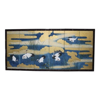 Six Panel Blue and Gold Crane Scene Japanese Screen For Sale