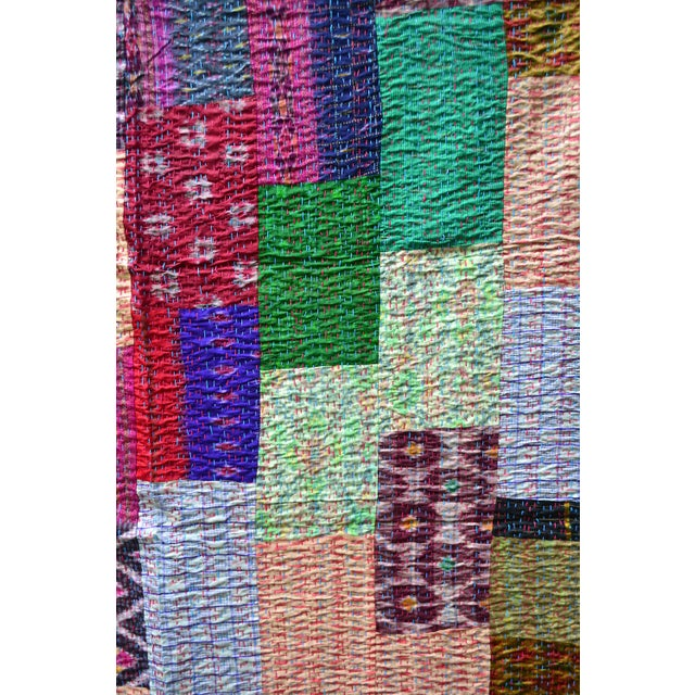 Handmade Woven Silk Sari Pieces Kantha Quilt - Image 6 of 8