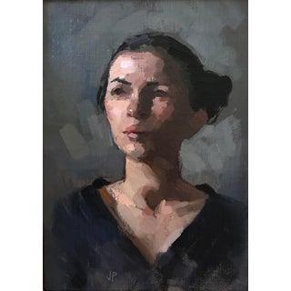 "Pöyhönen Framed Oil Painting, ""Portrait of Miss C"", 11 X 14 In. Frame For Sale"