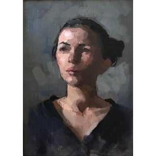 "Pöyhönen Oil Painting, ""Portrait of Miss C"", Contemporary Black and Gray Portrait For Sale"