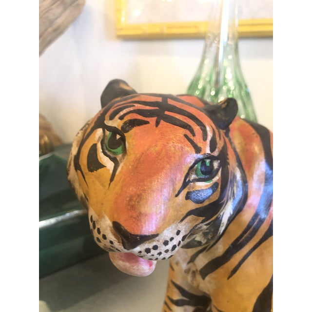 Lovely vintage terra-cotta tiger. Tagged underneath Made in Italy Handmade. Has some weight to it also! No chips or breaks.