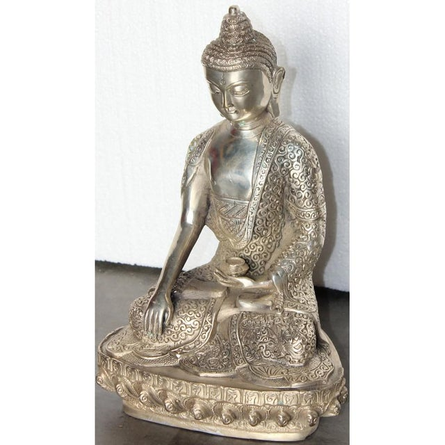 Silver Plated Sitting Buddha For Sale - Image 5 of 7