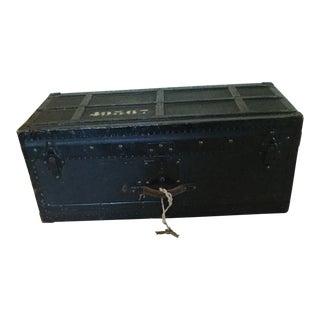 1940s Industrial Black Trunk/Footlocker For Sale