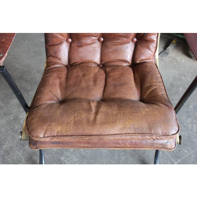 Traditional 1940's Vintage Lee Woodard Leather and Iron Armchair For Sale - Image 3 of 3