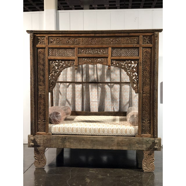 Antique Balinese Indian Boho Chic Teakwood Canopy Daybed in Elizabeth Eakins Fabrics For Sale - Image 13 of 13