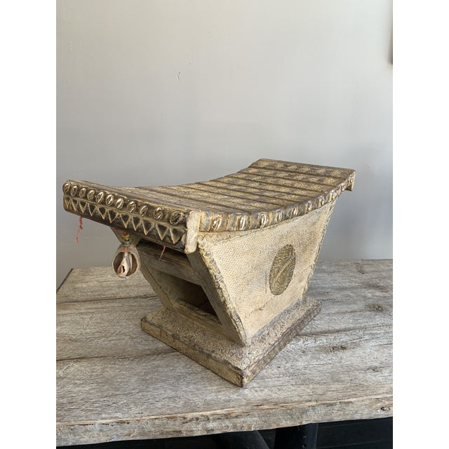 Rare Ashanti Stool With Inlayed Beads and Sea Shells Late 20th Century Antique Preowned Good Condition, missing a few...