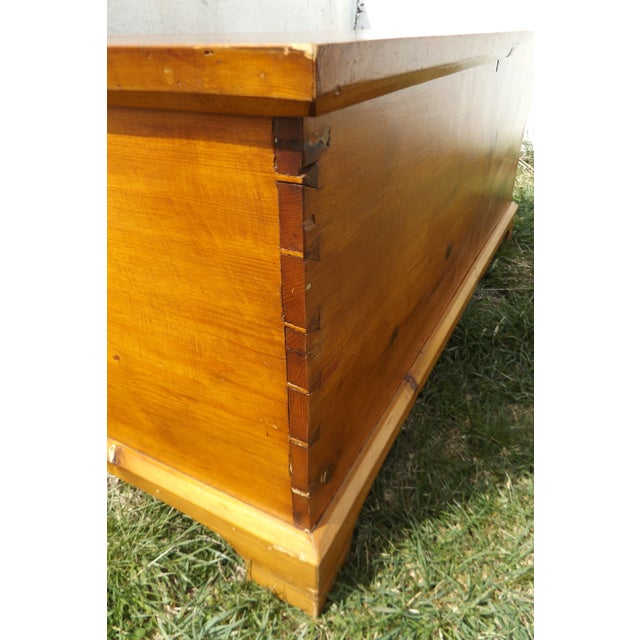 Primitive Antique Dovetailed Pine Hope Chest For Sale - Image 5 of 10