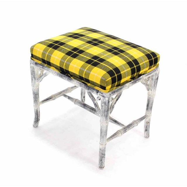 Pair of Faux Bamboo White Wash Finish Yellow Black Plaid Upholstery Benches For Sale - Image 4 of 7