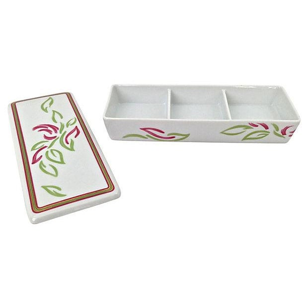 Vintage Tri-Section Box With Lid - Image 3 of 7