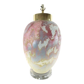 Vintage 1980s Pink Ceramic Lamp For Sale