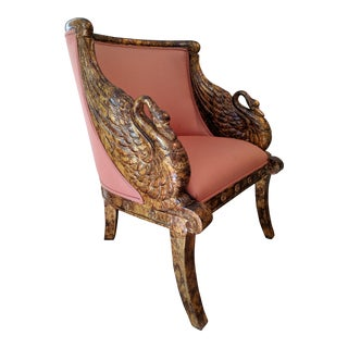 Marbled Gold Leaf on Solid Mahogany Hand-Carved Swan French Empire Tub Chair For Sale