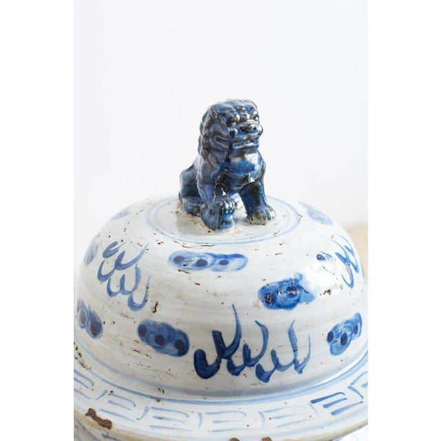 Pair of Chinese Blue and White Ginger Jars and Foo Dogs For Sale - Image 9 of 13