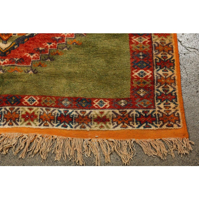 Vintage Moroccan Tribal Green and Orange Rug For Sale In Los Angeles - Image 6 of 9