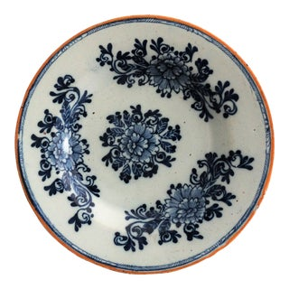 Antique Dutch Delft Plate, Signed, 'The Hatchet' Mark For Sale