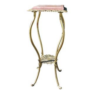 Antique Metal Plant Stand With Marble Top For Sale