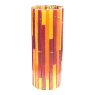 Moe Fiesta Mosaic Lucite Cylinder Swag Lamp Pendant For Sale