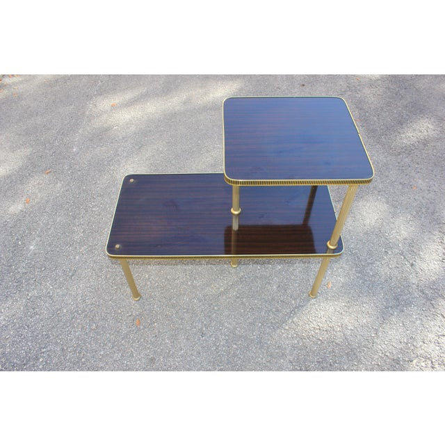 1940s Art Deco Mahogany and Brass Gueridon Side Table For Sale - Image 9 of 13